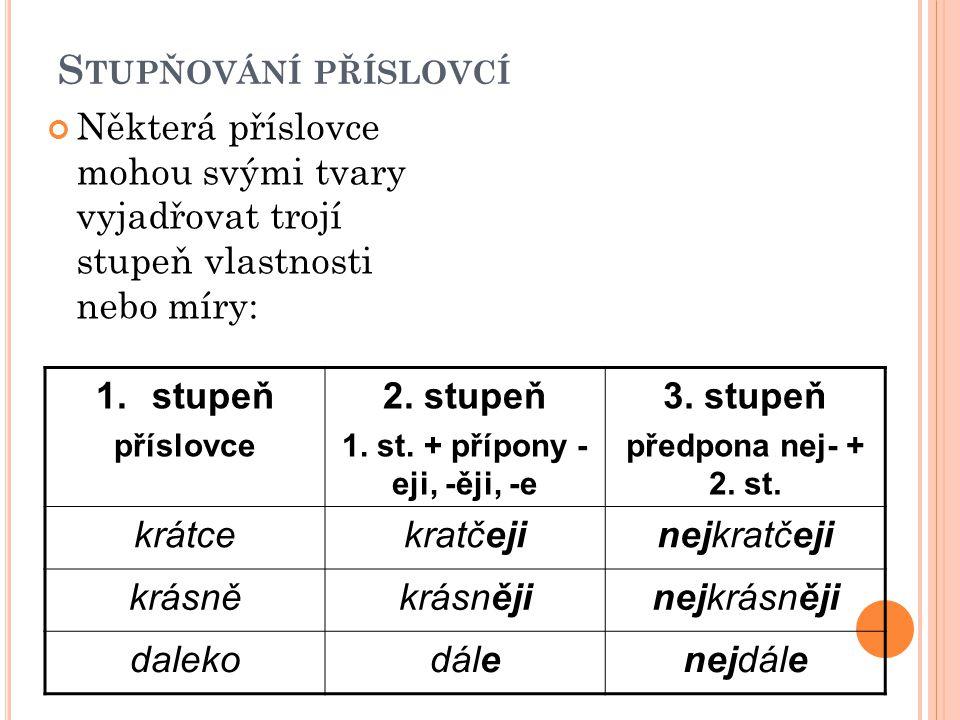 S TUPŇOVÁNÍ PŘÍSLOVCÍ Některá příslovce mohou svými tvary vyjadřovat trojí stupeň vlastnosti nebo míry: 1.stupeň příslovce 2. stupeň 1. st. + přípony