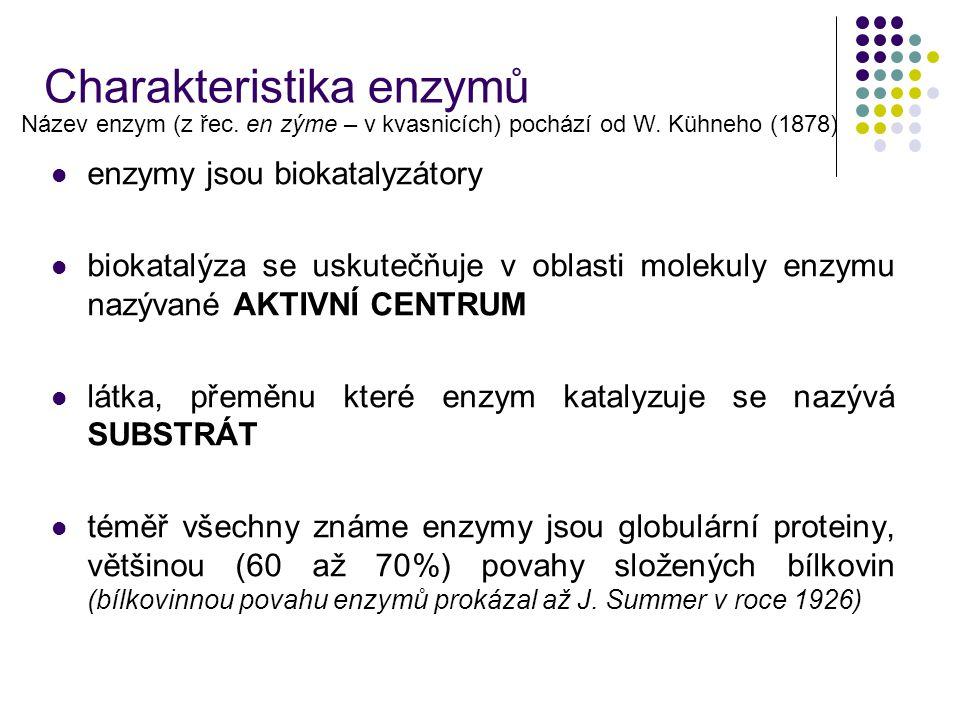 enzymy jsou biokatalyzátory biokatalýza se uskutečňuje v oblasti molekuly enzymu nazývané AKTIVNÍ CENTRUM látka, přeměnu které enzym katalyzuje se naz
