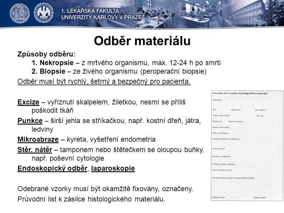 Odběr materiálu Způsoby odběru: 1.Nekropsie – z mrtvého organismu, max.