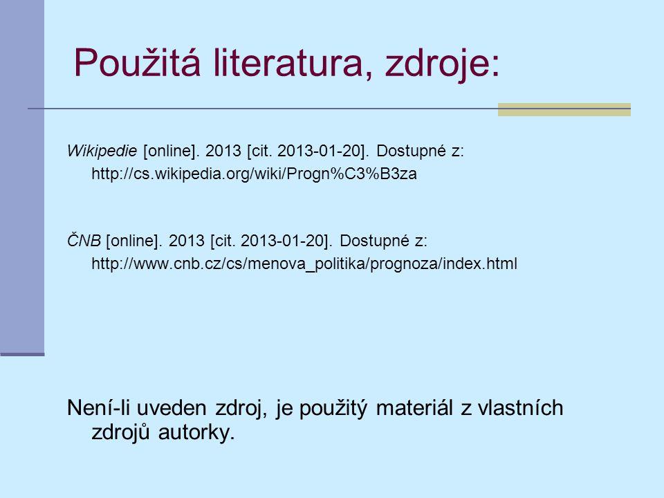 Použitá literatura, zdroje: Wikipedie [online]. 2013 [cit.
