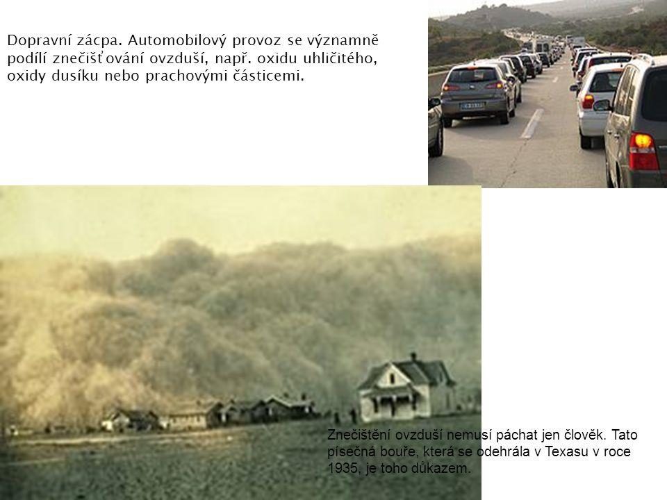 Dopravní zácpa. Automobilový provoz se významně podílí znečišťování ovzduší, např. oxidu uhličitého, oxidy dusíku nebo prachovými částicemi. Znečištěn