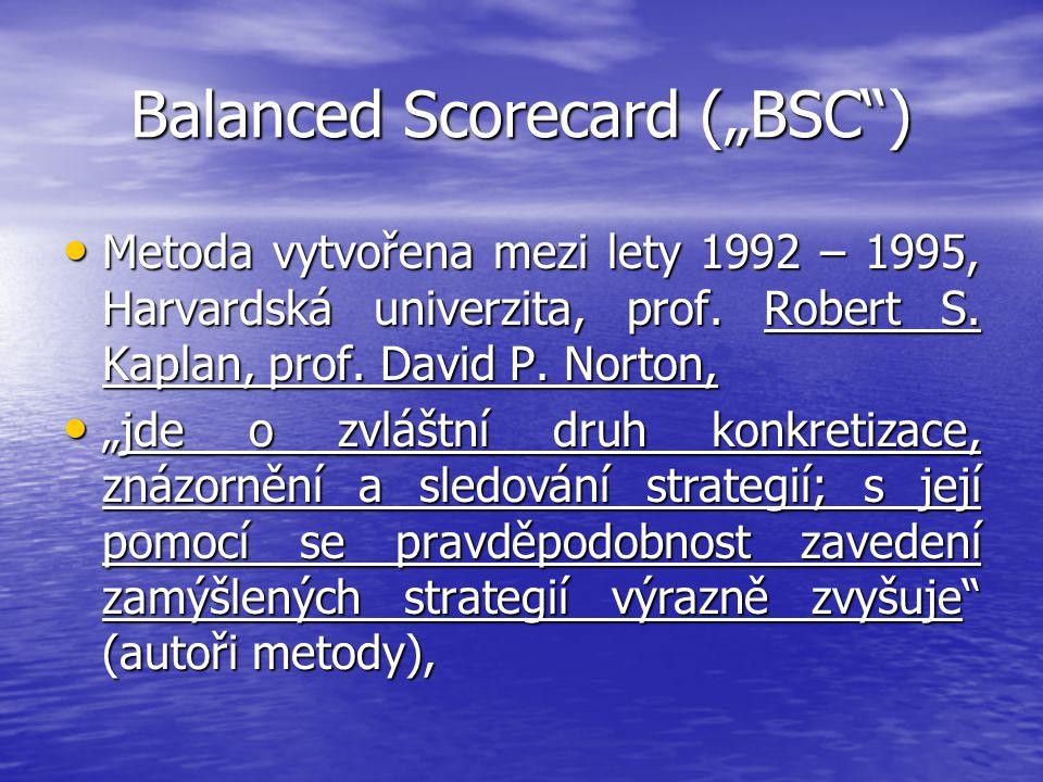 "Balanced Scorecard (""BSC"") Metoda vytvořena mezi lety 1992 – 1995, Harvardská univerzita, prof. Robert S. Kaplan, prof. David P. Norton, Metoda vytvoř"