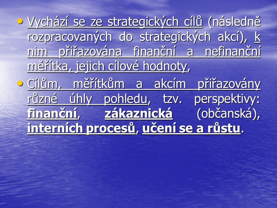 Vychází se ze strategických cílů (následně rozpracovaných do strategických akcí), k nim přiřazována finanční a nefinanční měřítka, jejich cílové hodno