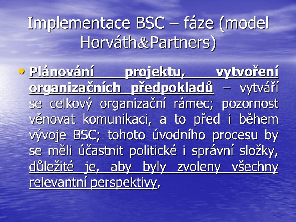 Implementace BSC – fáze (model Horváth & Partners) Plánování projektu, vytvoření organizačních předpokladů – vytváří se celkový organizační rámec; poz