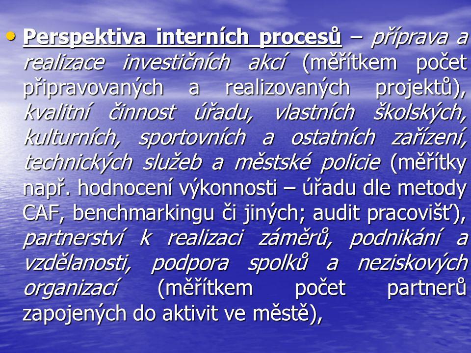 Perspektiva interních procesů – příprava a realizace investičních akcí (měřítkem počet připravovaných a realizovaných projektů), kvalitní činnost úřad
