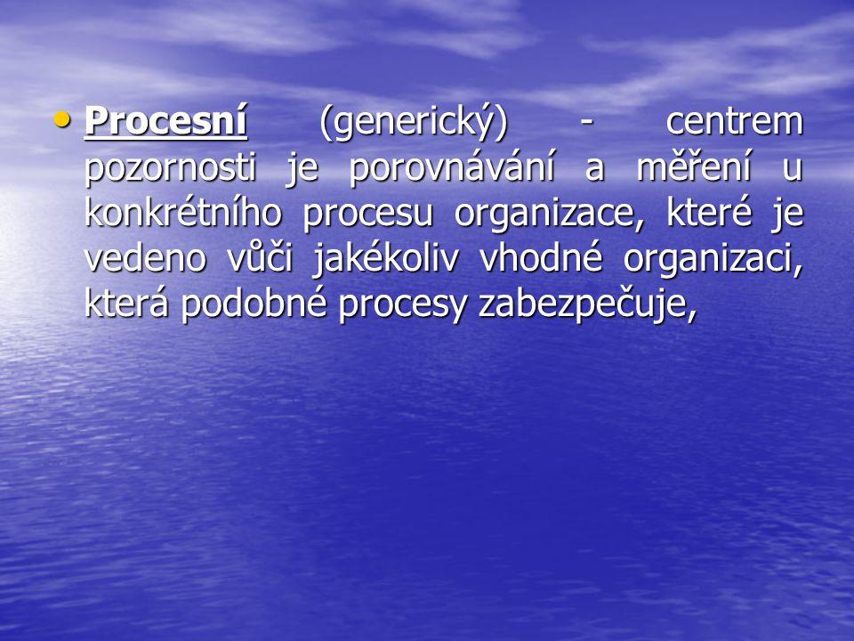 Procesní (generický) - centrem pozornosti je porovnávání a měření u konkrétního procesu organizace, které je vedeno vůči jakékoliv vhodné organizaci,