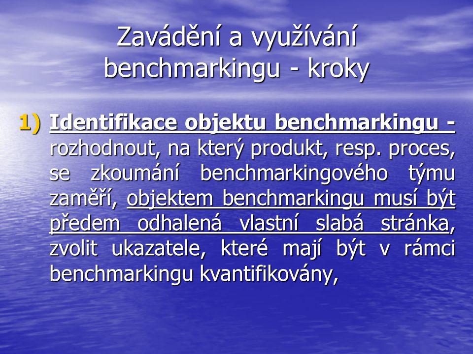 Zavádění a využívání benchmarkingu - kroky 1)Identifikace objektu benchmarkingu - rozhodnout, na který produkt, resp. proces, se zkoumání benchmarking