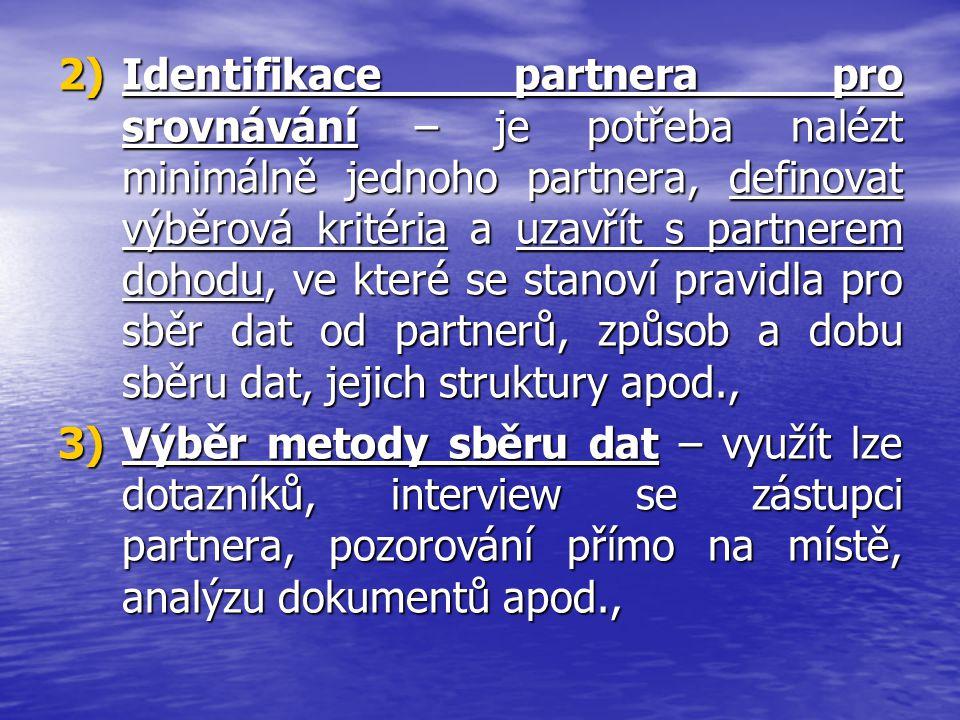 2)Identifikace partnera pro srovnávání – je potřeba nalézt minimálně jednoho partnera, definovat výběrová kritéria a uzavřít s partnerem dohodu, ve kt