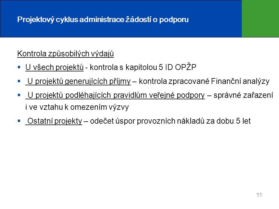 11 Projektový cyklus administrace žádostí o podporu Kontrola způsobilých výdajů  U všech projektů - kontrola s kapitolou 5 ID OPŽP  U projektů gener