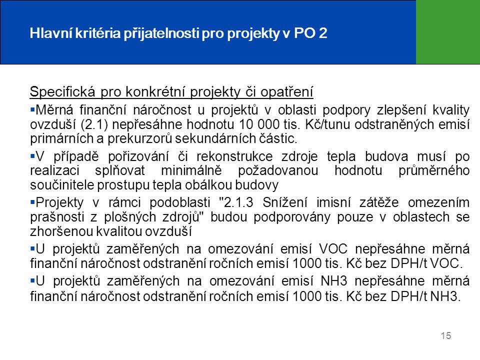 15 Hlavní kritéria přijatelnosti pro projekty v PO 2 Specifická pro konkrétní projekty či opatření  Měrná finanční náročnost u projektů v oblasti pod