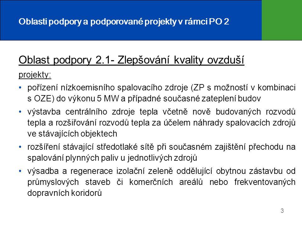 3 Oblasti podpory a podporované projekty v rámci PO 2 Oblast podpory 2.1- Zlepšování kvality ovzduší projekty: pořízení nízkoemisního spalovacího zdro
