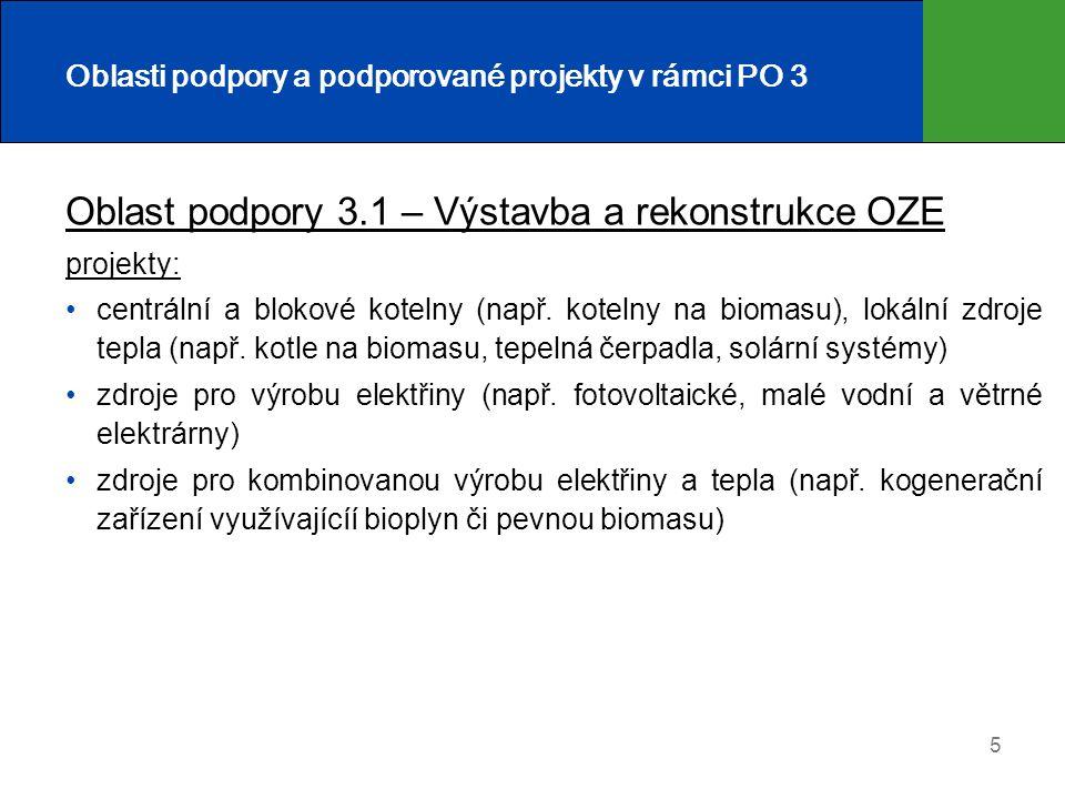 5 Oblasti podpory a podporované projekty v rámci PO 3 Oblast podpory 3.1 – Výstavba a rekonstrukce OZE projekty: centrální a blokové kotelny (např. ko