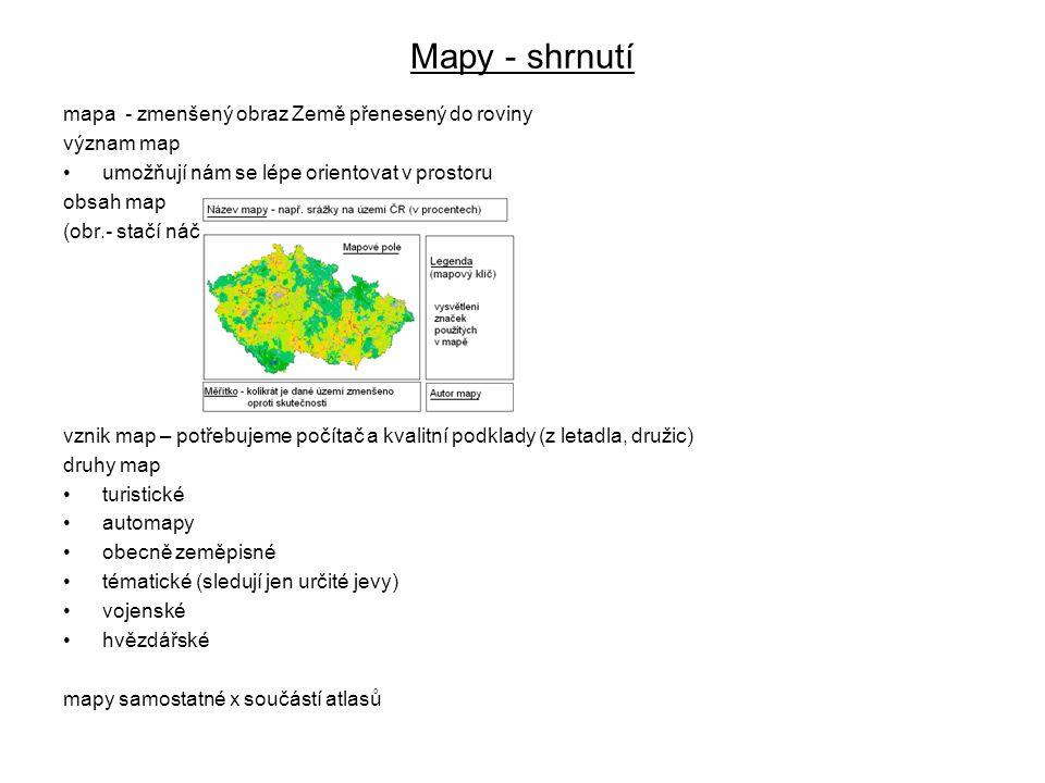 Mapy - shrnutí mapa - zmenšený obraz Země přenesený do roviny význam map umožňují nám se lépe orientovat v prostoru obsah map (obr.- stačí náčrt) vzni