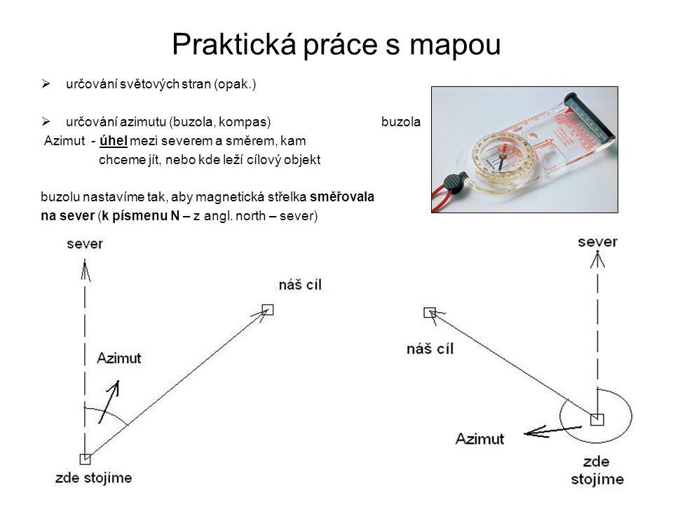 Praktická práce s mapou  určování světových stran (opak.)  určování azimutu (buzola, kompas) buzola Azimut - úhel mezi severem a směrem, kam chceme