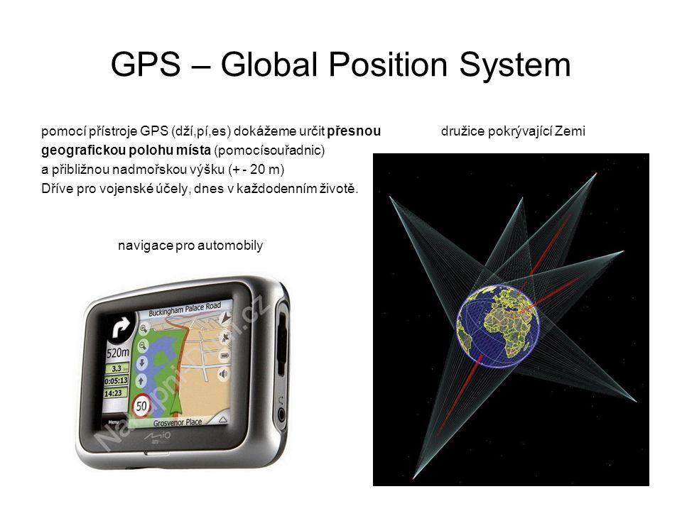 GPS – Global Position System pomocí přístroje GPS (dží,pí,es) dokážeme určit přesnou družice pokrývající Zemi geografickou polohu místa (pomocísouřadn