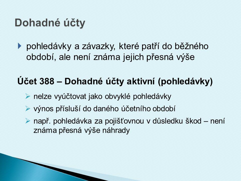 389 – Dohadné položky pasivní (závazky)  nelze vyúčtovat jako obvyklý dluh  např.