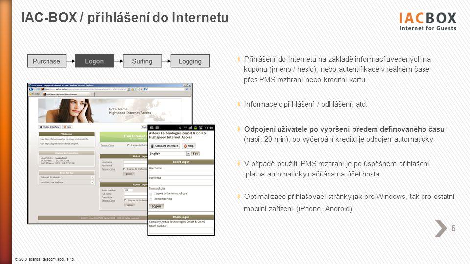 © 2013 atlantis telecom spol. s r.o. 5 Přihlášení do Internetu na základě informací uvedených na kupónu (jméno / heslo), nebo autentifikace v reálném