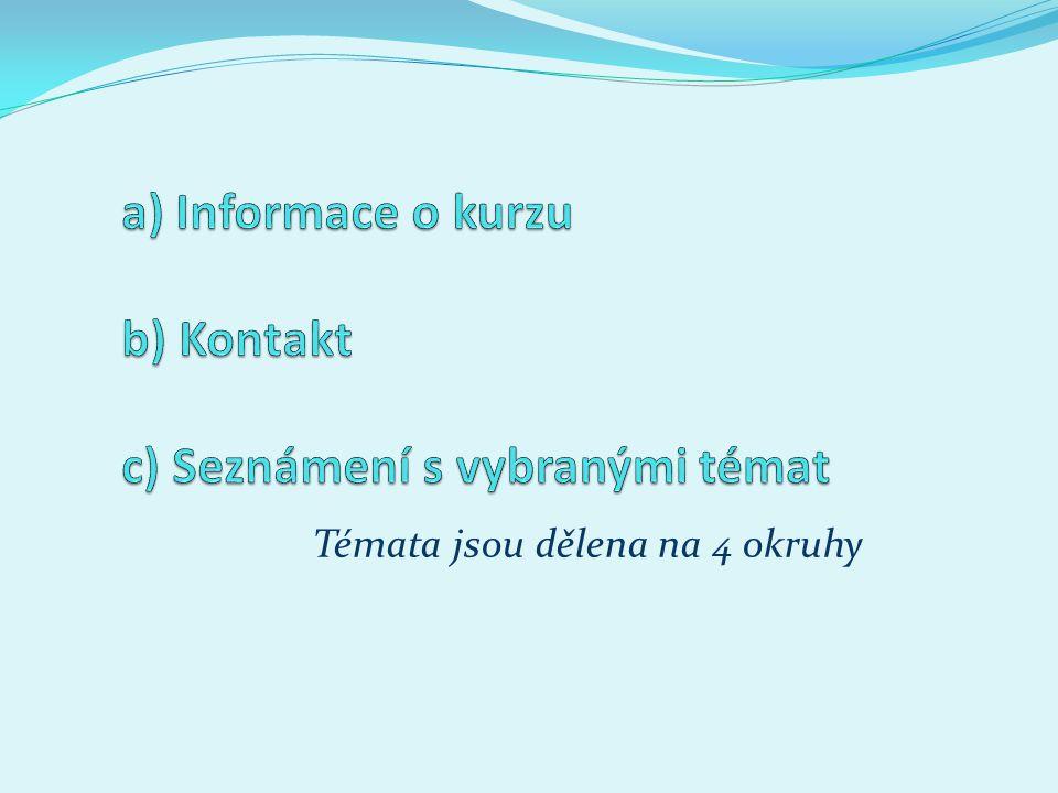 1.Základní informace o kurzu; 2. anotace kurzu; 3.