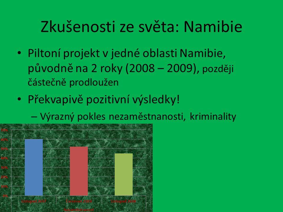 Zkušenosti ze světa: Namibie Piltoní projekt v jedné oblasti Namibie, původně na 2 roky (2008 – 2009), později částečně prodloužen Překvapivě pozitivní výsledky.