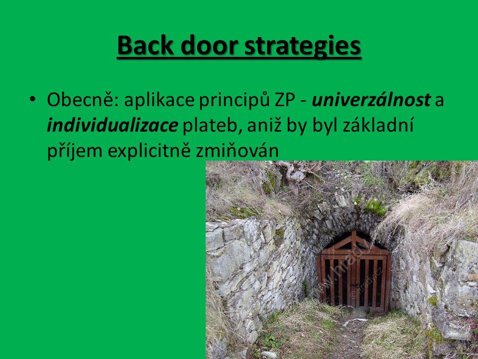 Back door strategies Obecně: aplikace principů ZP - univerzálnost a individualizace plateb, aniž by byl základní příjem explicitně zmiňován