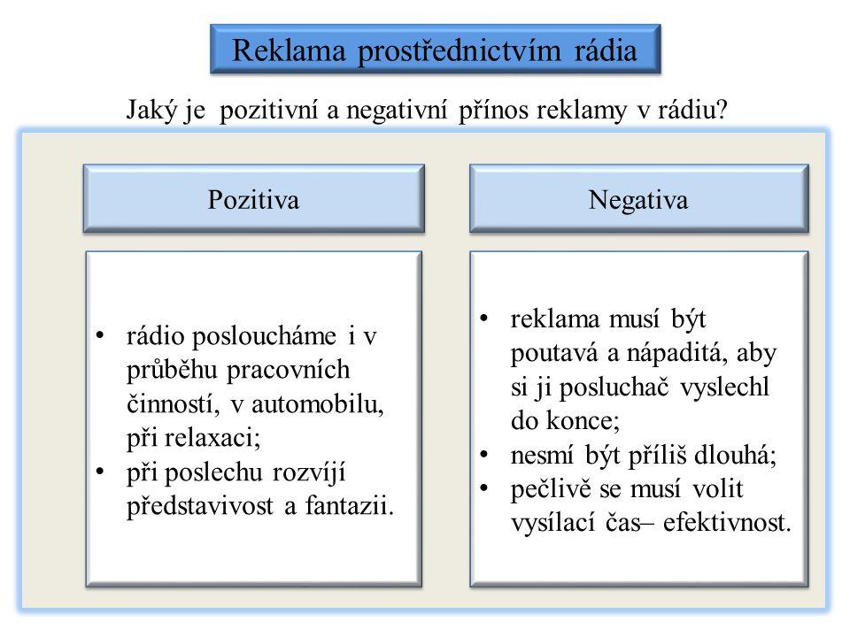 Jaký je pozitivní a negativní přínos reklamy v rádiu? Reklama prostřednictvím rádia Pozitiva Negativa rádio posloucháme i v průběhu pracovních činnost