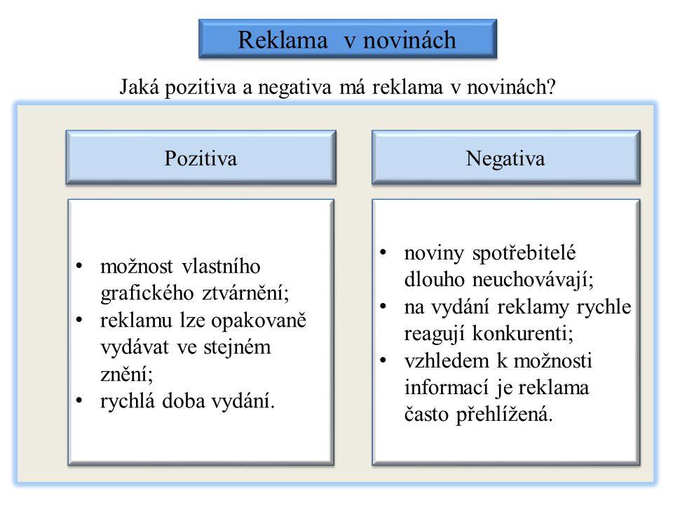 Jaká pozitiva a negativa má reklama v novinách? Reklama v novinách Pozitiva Negativa možnost vlastního grafického ztvárnění; reklamu lze opakovaně vyd