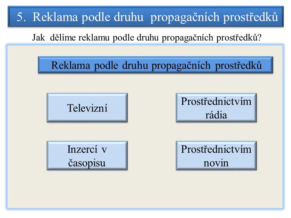 5. Reklama podle druhu propagačních prostředků Jak dělíme reklamu podle druhu propagačních prostředků? Reklama podle druhu propagačních prostředků Tel