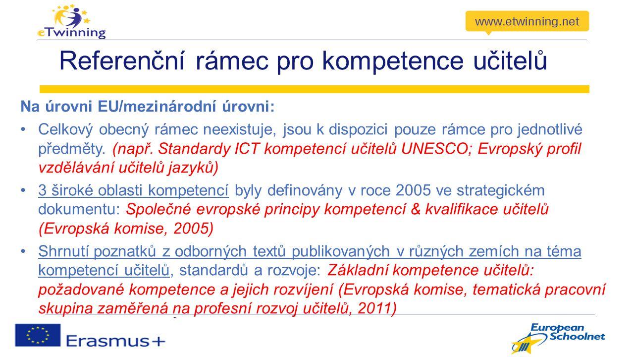 Referenční rámec pro kompetence učitelů Na úrovni EU/mezinárodní úrovni: Celkový obecný rámec neexistuje, jsou k dispozici pouze rámce pro jednotlivé předměty.
