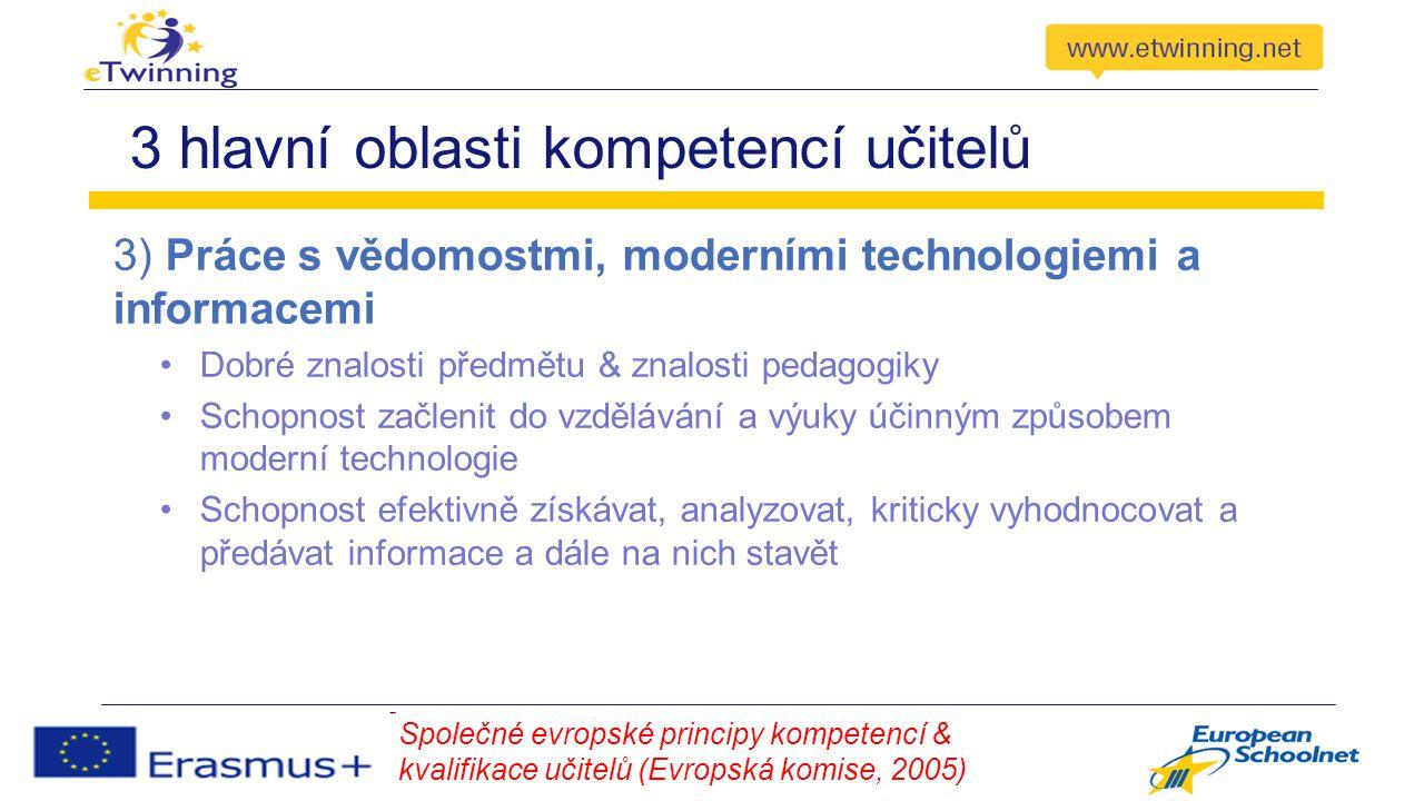 3 hlavní oblasti kompetencí učitelů 3) Práce s vědomostmi, moderními technologiemi a informacemi Dobré znalosti předmětu & znalosti pedagogiky Schopnost začlenit do vzdělávání a výuky účinným způsobem moderní technologie Schopnost efektivně získávat, analyzovat, kriticky vyhodnocovat a předávat informace a dále na nich stavět Společné evropské principy kompetencí & kvalifikace učitelů (Evropská komise, 2005)