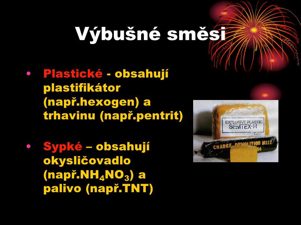 Výbušné směsi Plastické - obsahují plastifikátor (např.hexogen) a trhavinu (např.pentrit) Sypké – obsahují okysličovadlo (např.NH 4 NO 3 ) a palivo (např.TNT)