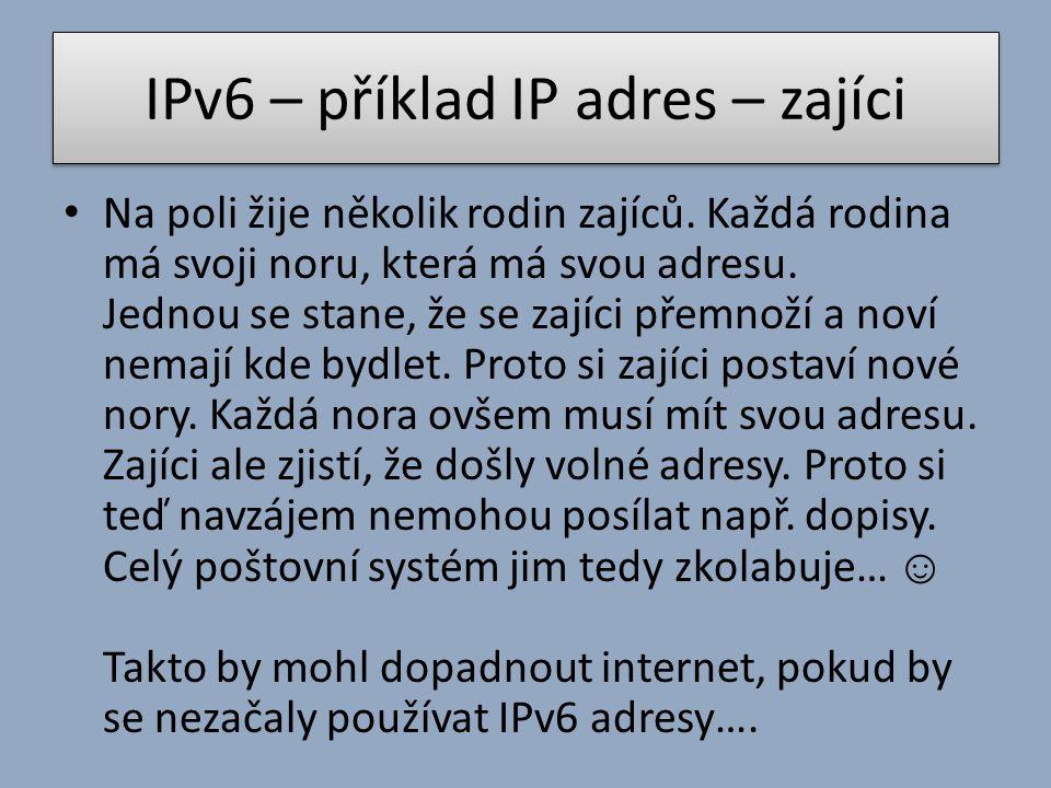 IPv6 – příklad IP adres – zajíci Na poli žije několik rodin zajíců. Každá rodina má svoji noru, která má svou adresu. Jednou se stane, že se zajíci př