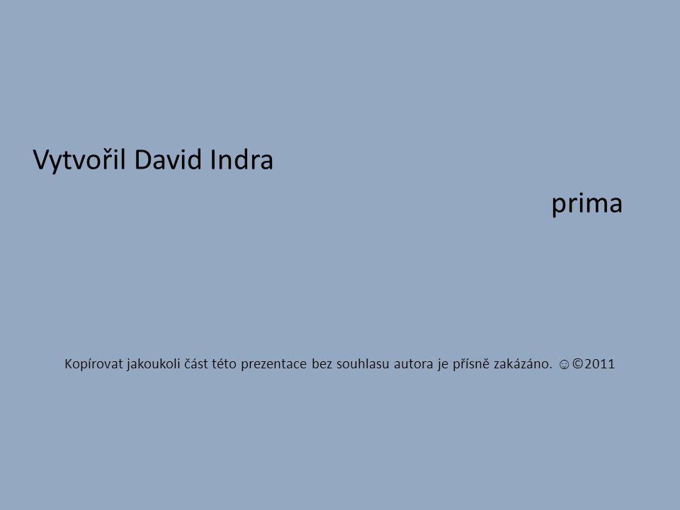Vytvořil David Indra prima Kopírovat jakoukoli část této prezentace bez souhlasu autora je přísně zakázáno.