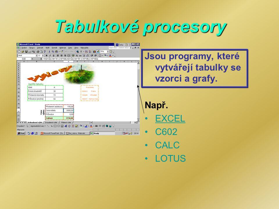 Tabulkové procesory Jsou programy, které vytvářejí tabulky se vzorci a grafy. Např. EXCEL C602 CALC LOTUS