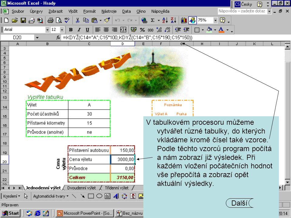 V tabulkovém procesoru můžeme vytvářet různé tabulky, do kterých vkládáme kromě čísel také vzorce. Podle těchto vzorců program počítá a nám zobrazí ji