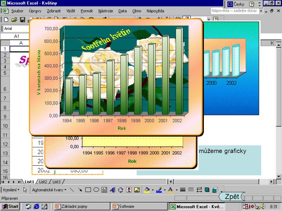 Tabulky s hodnotami můžeme graficky zpracovávat. Zpět