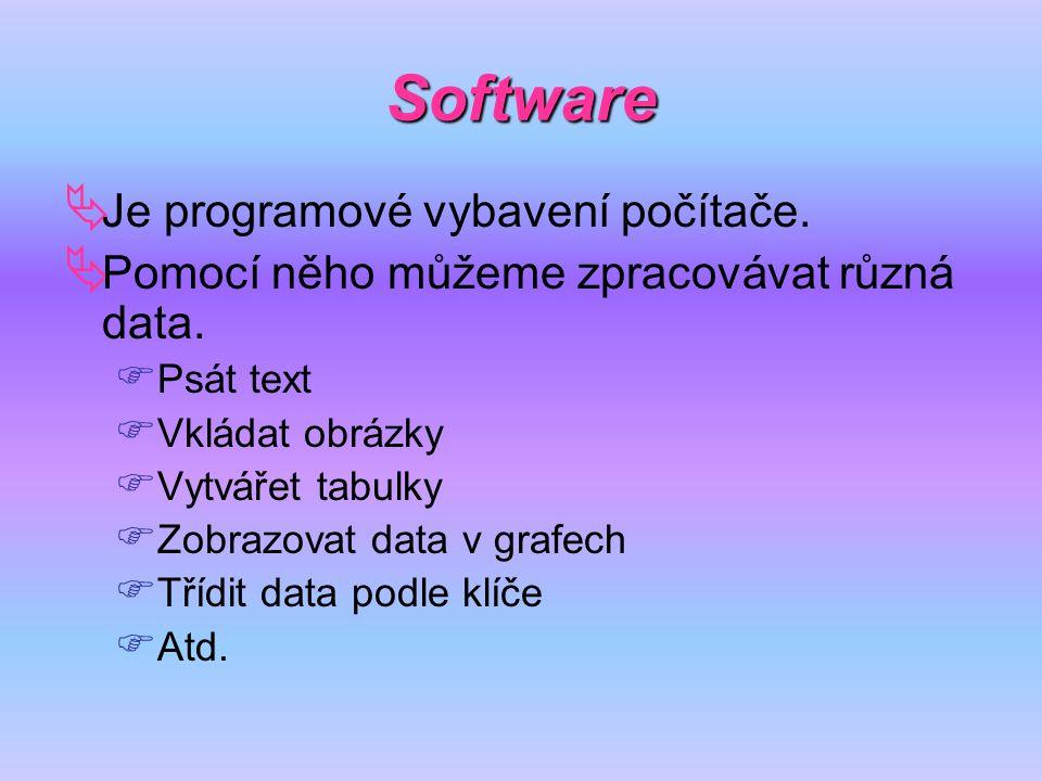 Software  Je programové vybavení počítače.  Pomocí něho můžeme zpracovávat různá data.  Psát text  Vkládat obrázky  Vytvářet tabulky  Zobrazovat