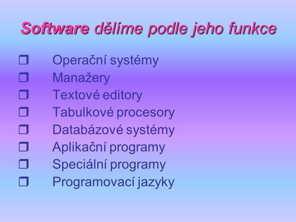 Softwaredělíme podle jeho funkce Software dělíme podle jeho funkce  Operační systémy  Manažery  Textové editory  Tabulkové procesory  Databázové