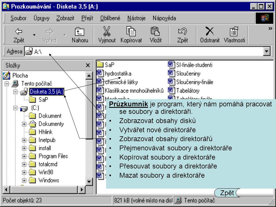 Průzkumník je program, který nám pomáhá pracovat se soubory a direktoráři. Zobrazovat obsahy disků Vytvářet nové direktoráře Zobrazovat obsahy direkto