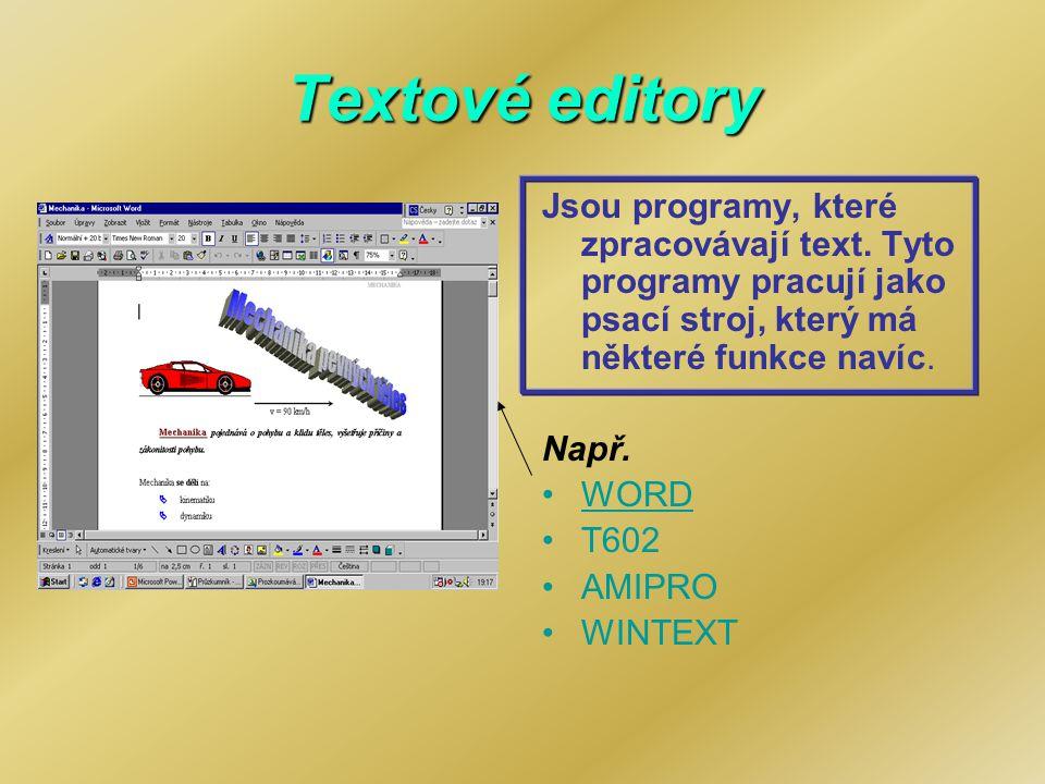 Textové editory Jsou programy, které zpracovávají text. Tyto programy pracují jako psací stroj, který má některé funkce navíc. Např. WORD T602 AMIPRO