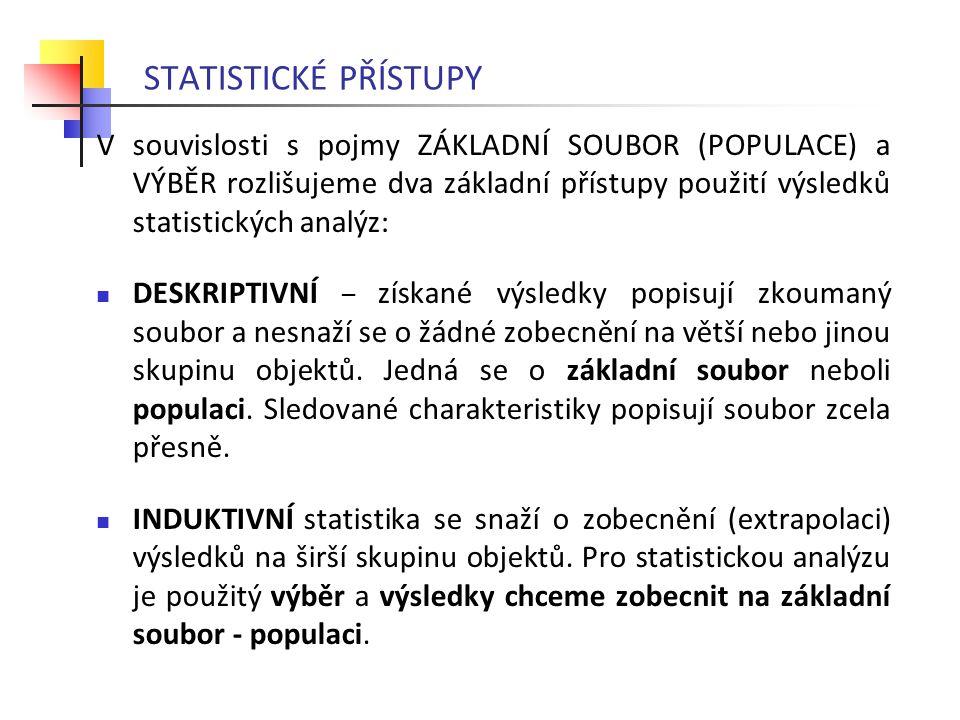 STATISTICKÉ PŘÍSTUPY V souvislosti s pojmy ZÁKLADNÍ SOUBOR (POPULACE) a VÝBĚR rozlišujeme dva základní přístupy použití výsledků statistických analýz: DESKRIPTIVNÍ – získané výsledky popisují zkoumaný soubor a nesnaží se o žádné zobecnění na větší nebo jinou skupinu objektů.