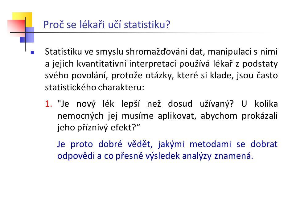 Proč se lékaři učí statistiku? Statistiku ve smyslu shromažďování dat, manipulaci s nimi a jejich kvantitativní interpretaci používá lékař z podstaty
