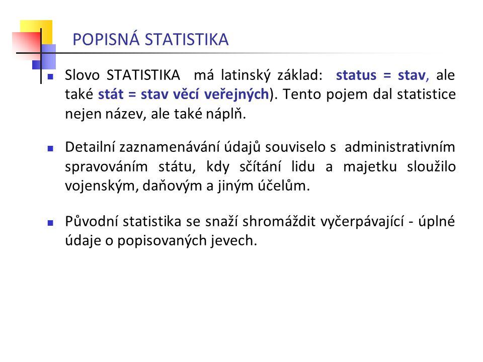 Slovo STATISTIKA má latinský základ: status = stav, ale také stát = stav věcí veřejných). Tento pojem dal statistice nejen název, ale také náplň. Deta
