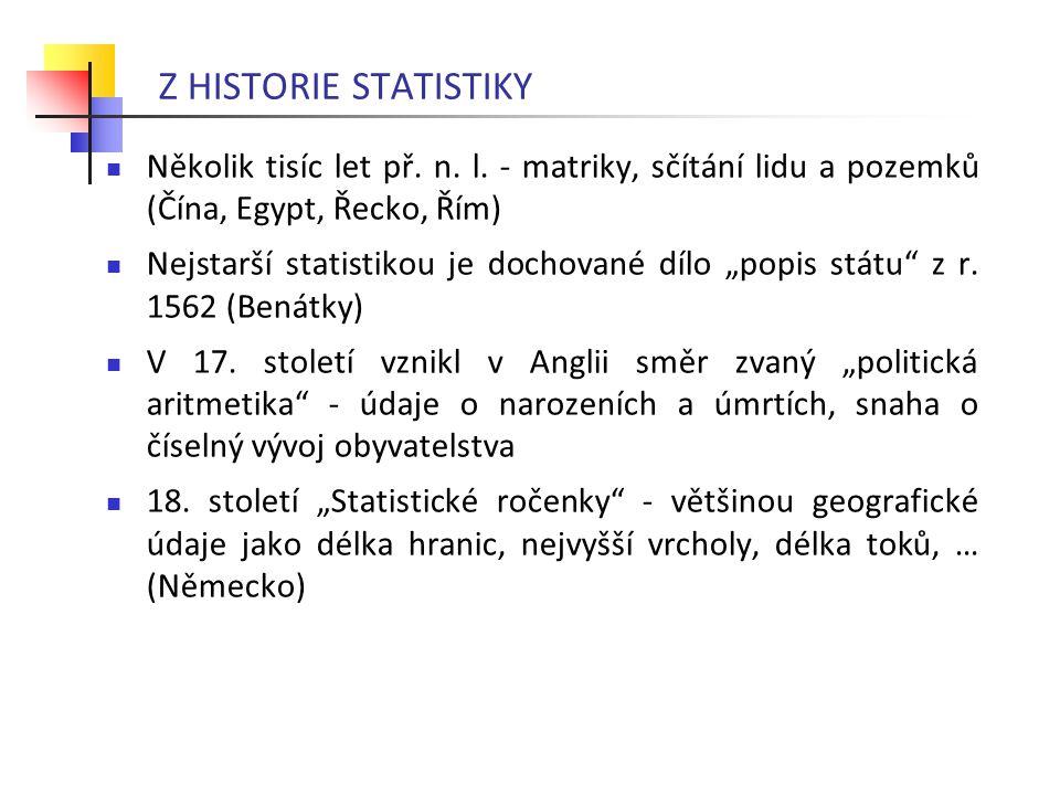 """Několik tisíc let př. n. l. - matriky, sčítání lidu a pozemků (Čína, Egypt, Řecko, Řím) Nejstarší statistikou je dochované dílo """"popis státu"""" z r. 156"""