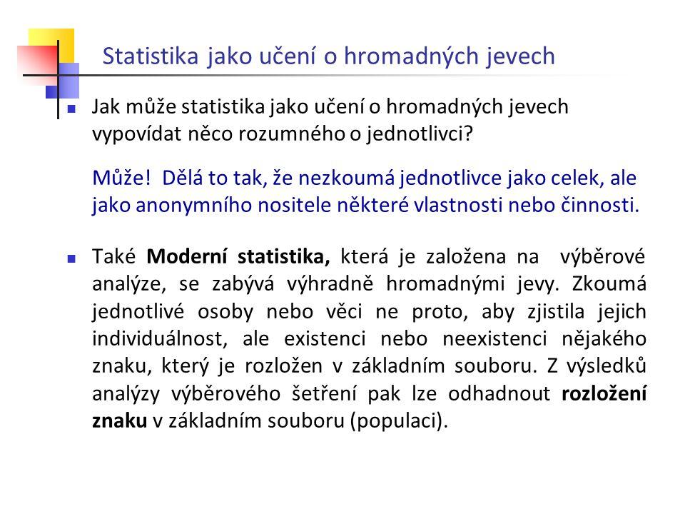 Jak může statistika jako učení o hromadných jevech vypovídat něco rozumného o jednotlivci? Může! Dělá to tak, že nezkoumá jednotlivce jako celek, ale