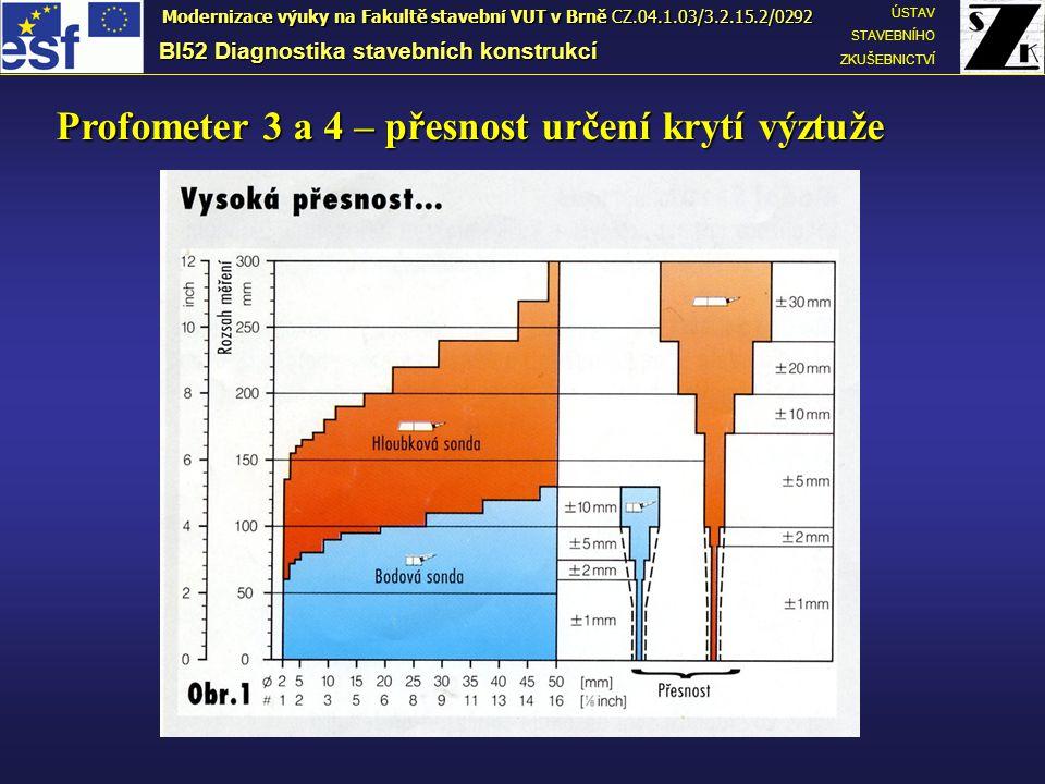 BI52 Diagnostika stavebních konstrukcí ÚSTAV STAVEBNÍHO ZKUŠEBNICTVÍ Modernizace výuky na Fakultě stavební VUT v Brně CZ.04.1.03/3.2.15.2/0292 Profometer 3 a 4 – přesnost určení krytí výztuže