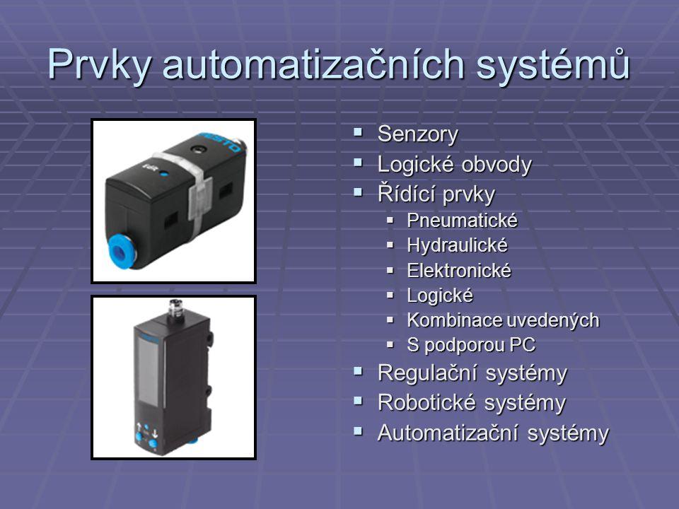 Prvky automatizačních systémů  Senzory  Logické obvody  Řídící prvky  Pneumatické  Hydraulické  Elektronické  Logické  Kombinace uvedených  S