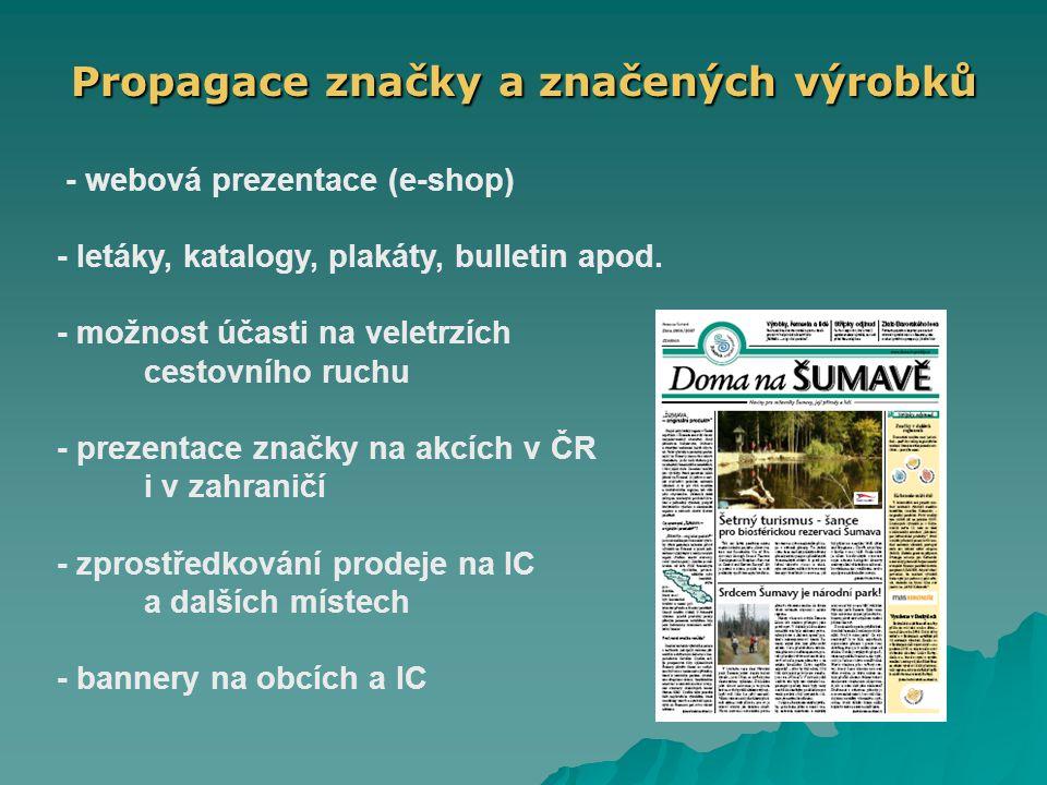 Propagace značky a značených výrobků - webová prezentace (e-shop) - letáky, katalogy, plakáty, bulletin apod.