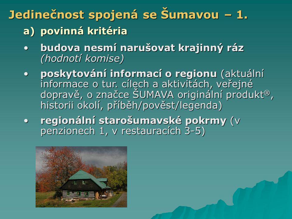 Jedinečnost spojená se Šumavou – 1. a)povinná kritéria budova nesmí narušovat krajinný ráz (hodnotí komise)budova nesmí narušovat krajinný ráz (hodnot