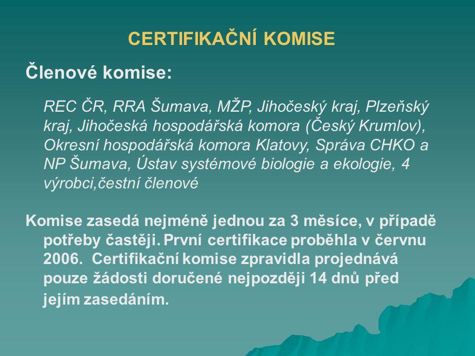 CERTIFIKAČNÍ KOMISE Členové komise: REC ČR, RRA Šumava, MŽP, Jihočeský kraj, Plzeňský kraj, Jihočeská hospodářská komora (Český Krumlov), Okresní hospodářská komora Klatovy, Správa CHKO a NP Šumava, Ústav systémové biologie a ekologie, 4 výrobci,čestní členové Komise zasedá nejméně jednou za 3 měsíce, v případě potřeby častěji.