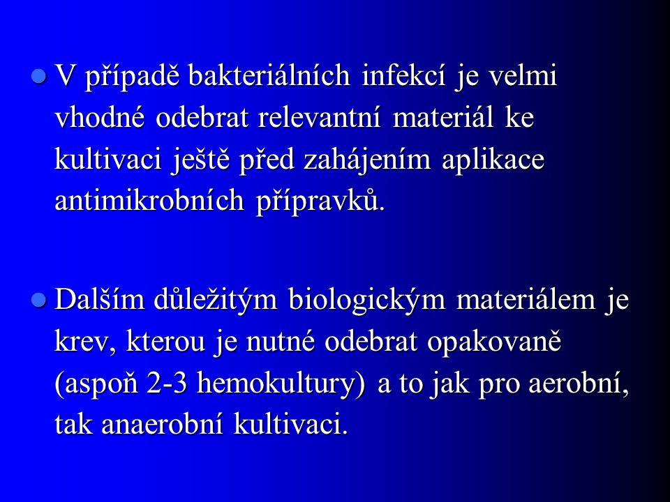 V případě bakteriálních infekcí je velmi vhodné odebrat relevantní materiál ke kultivaci ještě před zahájením aplikace antimikrobních přípravků. V pří